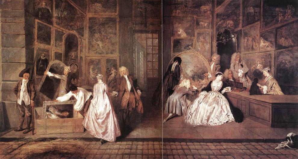 Das Firmenschild des Kunsthändlers Gersaint (L ́Enseigne), Antoine Watteau, 1720, Stiftung Preußische Schlösser und Gärten Berlin-Brandenburgs, Foto: Jörg P. Anders