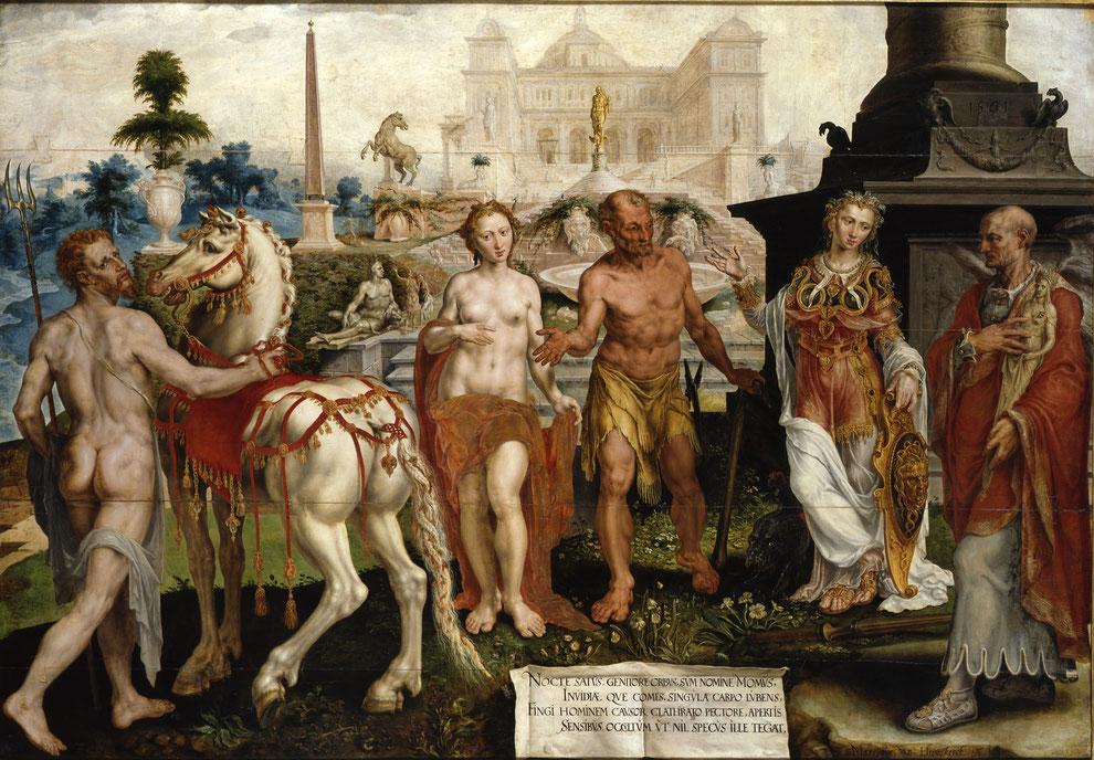 Maarten van Heemskerck, Momus tadelt die Werke der Götter, 1561, Kat.-Nr. 655, Gemäldegalerie, Staatliche Museen zu Berlin