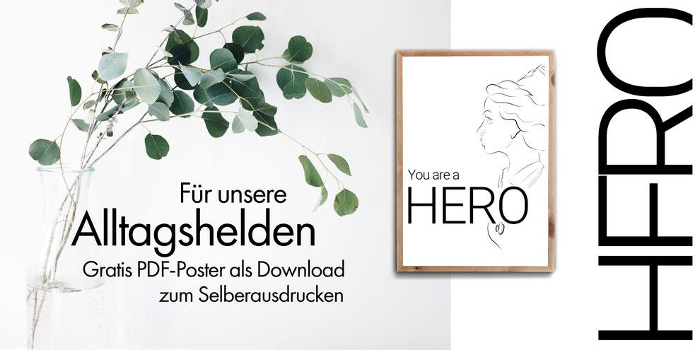 4onepictures - alltagshelden - a4 -poster - selber ausdrucken - gratis - umsonst - for free - digital download - helden - hero - corona - postiv - zusammenhalten - ärzte - krankenschwester - pfleger - kassierer - verkäufer