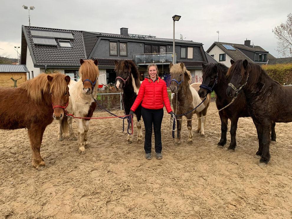 Lotte Mainz Anfang 2021 mit ihren für die IPZV-Prüfung ausgebildeten Jungpferden