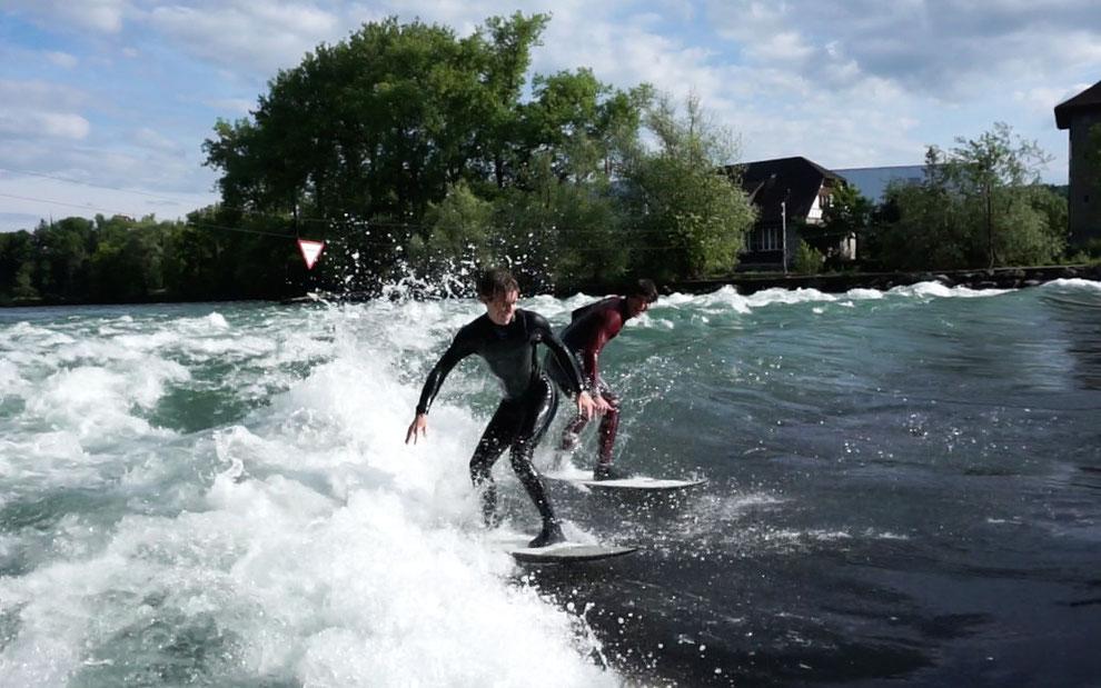 Lorenz und ich auf einer Welle!