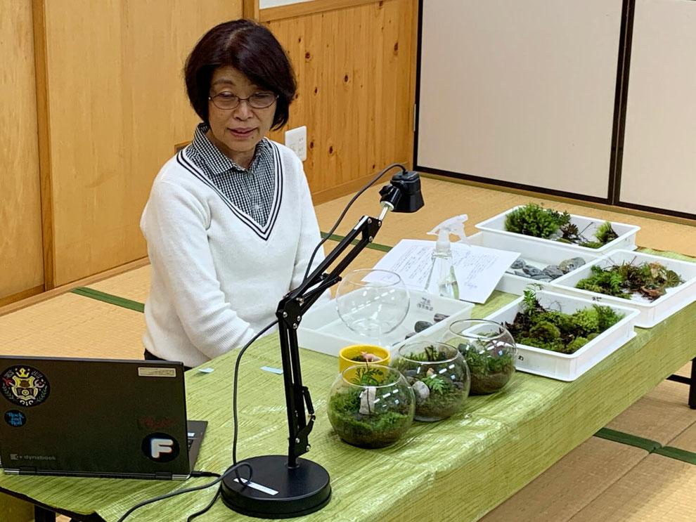 講師がカメラの前で実際に苔テラリウムを作りながら説明をします。