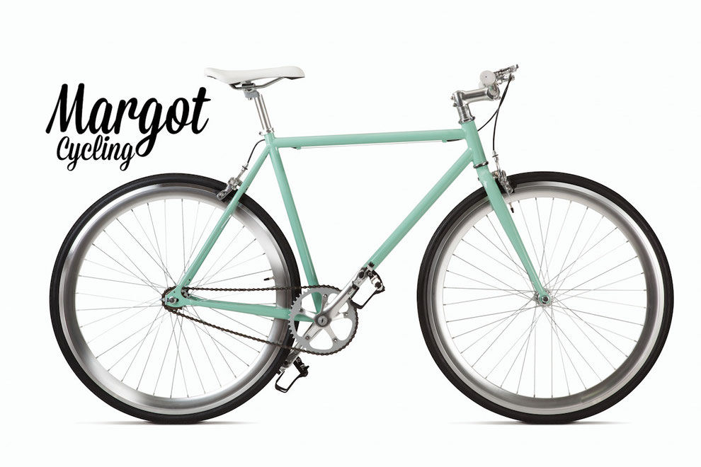 TIFFANY fixed bike: green frame and fork, silver parts, anodized rims.