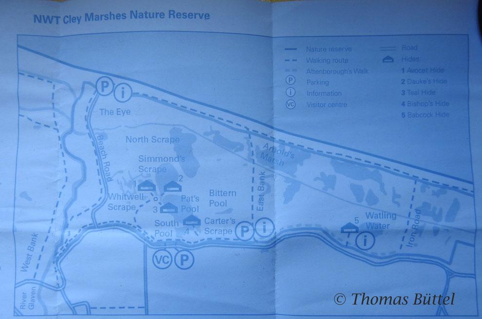 """Karte des Gebiets von einem Flyer abfotografiert (Hides am """"North Scrape"""" und am """"East Bank"""" nicht eingezeichnet)"""