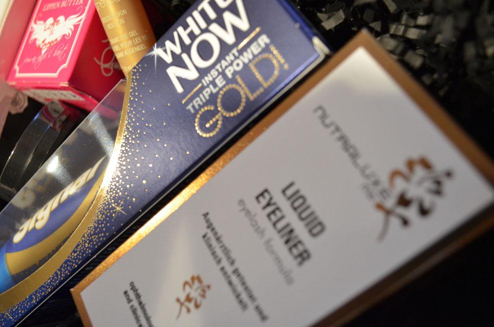 White Now Gold Zahnpasta und Liquid Eyeliner mit Eyelash Formula