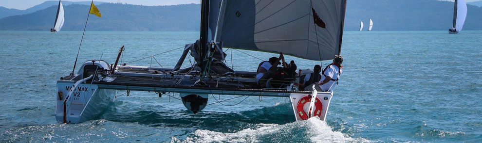 Catamaran Mad Max racing at Hamilton Island