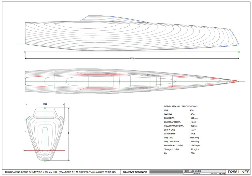 Lines plan for the Livewire 28 Catamaran