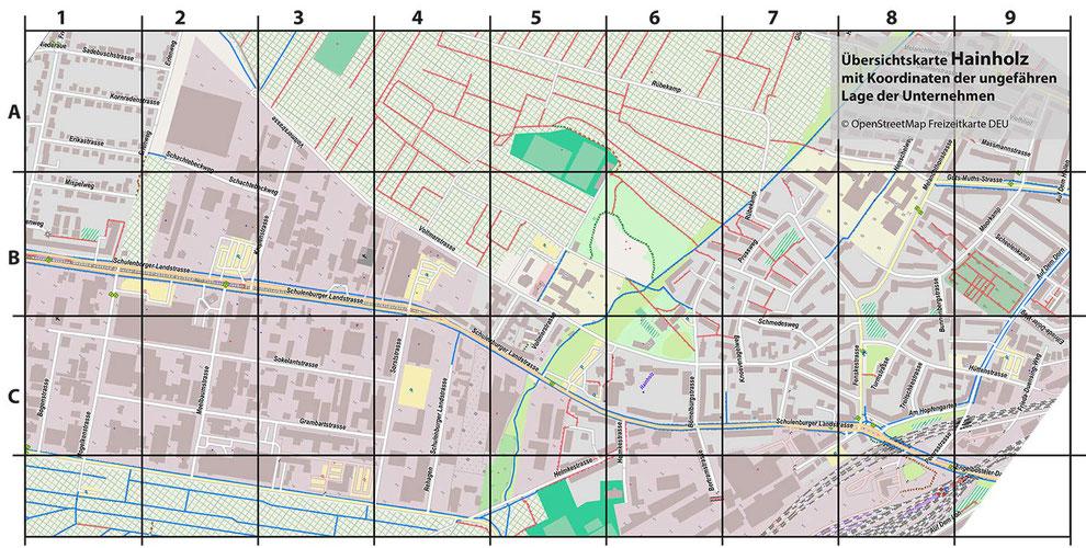 Karte des Gebietes aus Openstreetmap mit Rasterüberlagerung