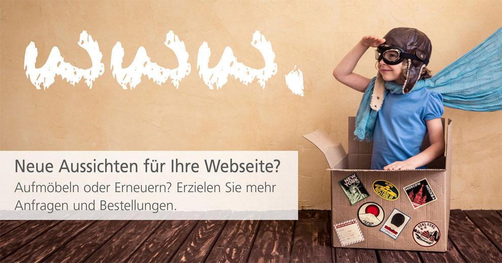 Gute Aussichten für Ihre Webseiten. Der Grafikdesigner von Comtyp Werbeagentur in Kleve möbelt Ihre Homepage auf.
