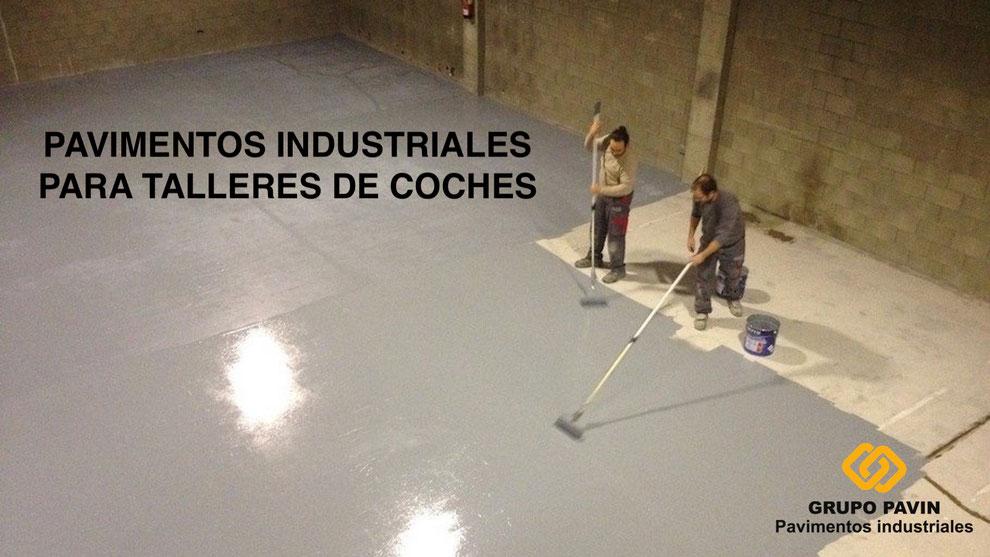 Pavimento industrial para taller de coches con resinas epoxi