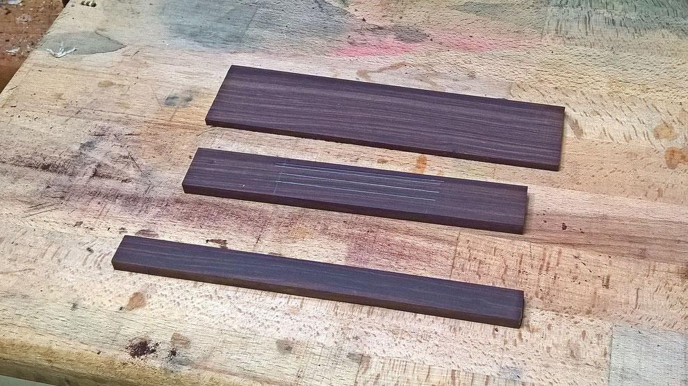 Stegholz aus Palisander vorbereitet