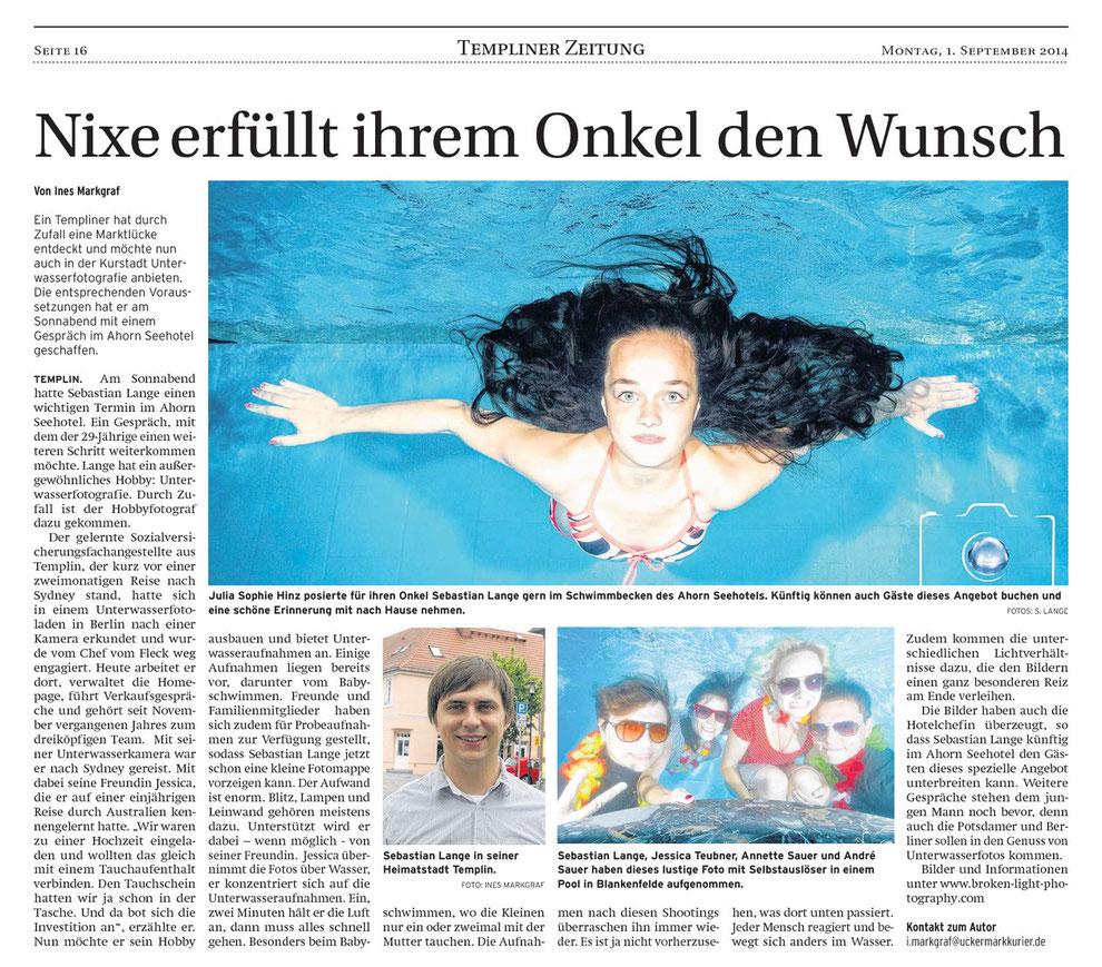 Bild: Artikel über Unterwasser Fotoshootings beim Babyschwimmen in Templin (im Uckermark Kurier Templin) - Unterwasserfotografie