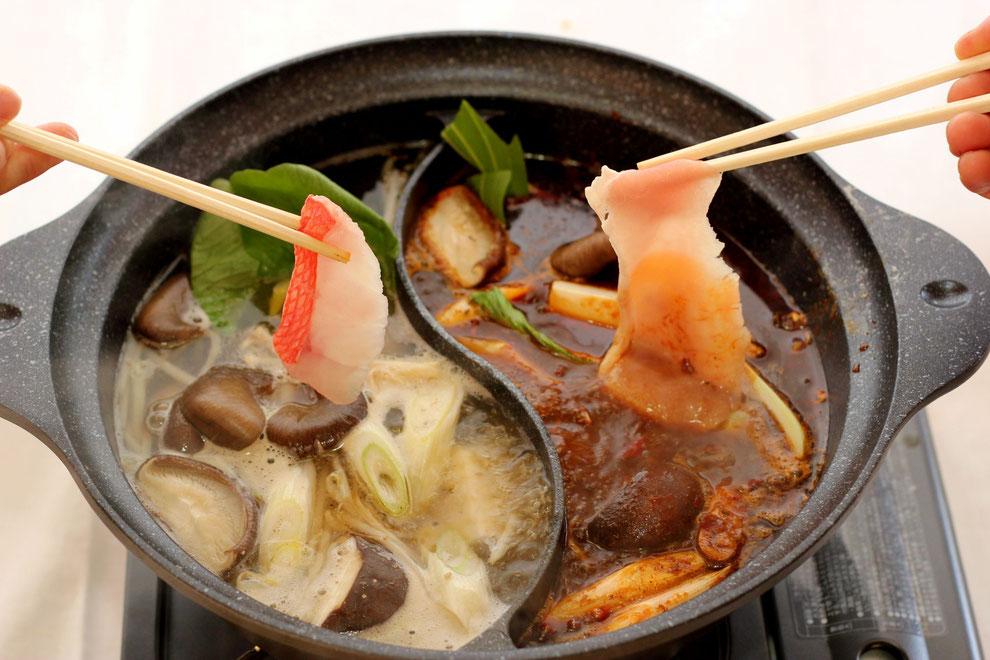 一品香特製火鍋&天然塩鍋しゃぶしゃぶコース!激辛好きなお客様も苦手なお客様も伊豆下田産の美味しい地金目鯛を楽しめるコースです。
