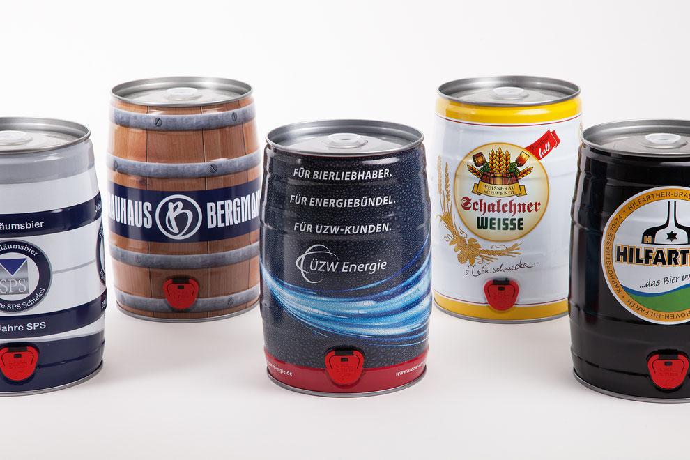5 Liter Bierfass Bierdose Partyfass Metallverpackungen HUBER Packaging