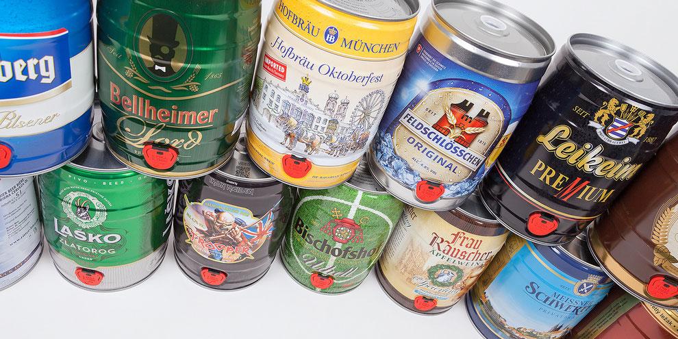 5 Liter Bierfass Partyfass Bierdose Weltmarktführer Metallverpackungen HUBER Packaging