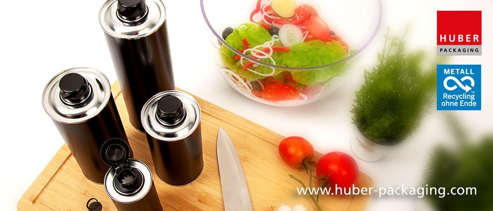 Edible Oil Speiseöl Olivenöl Metallflaschen Metallverpackungen HUBER Packaging