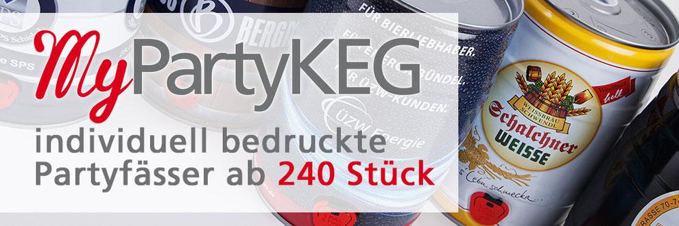 5 Liter Bierfass Partyfass Weltmarktführer Metallverpackungen HUBER Packaging Kleinmengendruck MyPartyKEG