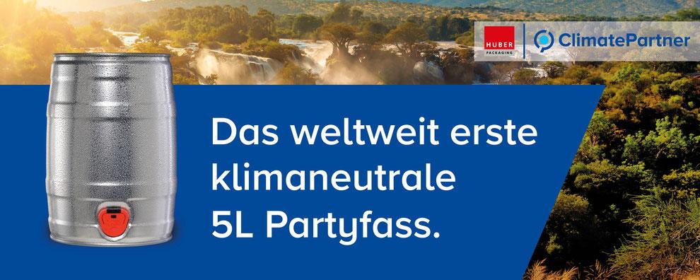 Klimaneutral 5 Liter Partyfass Bierfass Bierdose Metallverpackungen HUBER Packaging Climate Partner