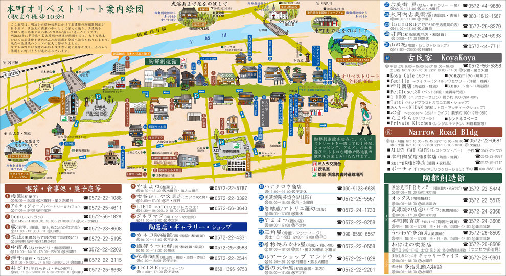 絵付け体験,うながっぱ陶器, Tajimi Honmachi Oribe Street,散策マップ
