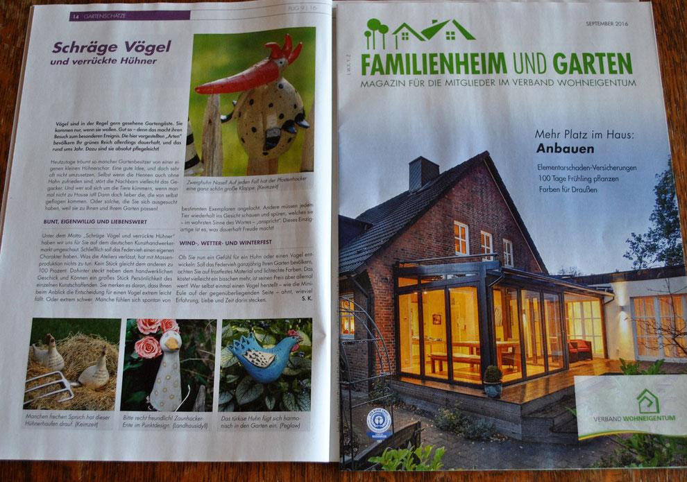 Schräge Vögel und verrückte Hühner Landhausidyll-Gartenkeramik im Magazin des Verbandes für Wohneigentum