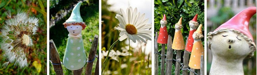 Bunte Zaunwichtel als Insektenhotel - Gartenkeramik