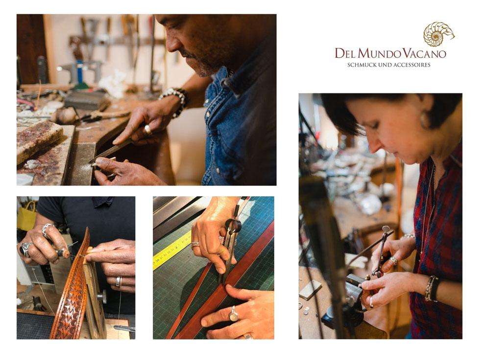 Del Mundo Vacano - das Zweierteam an der Goldschmiedebank und am Lederwerktisch