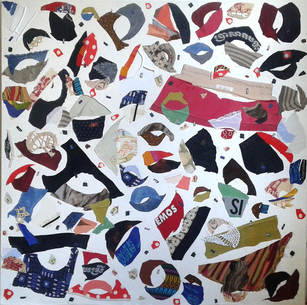 """Eva Hradil """"Abrazo I"""" 2017, prendas con emoción en lienzo, 130 x 130 cm"""