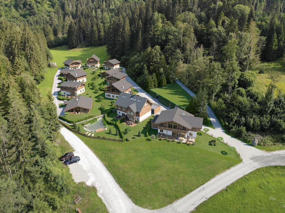 Übersicht Drohnenaufnahme der Weissenbach Siedlung