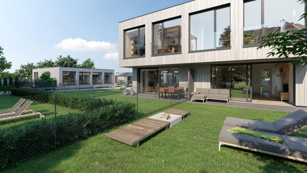 Seepark Klopeinersee - Wohnbau mit Seezugang - Renderings vom Boden und Drohnenmontagen