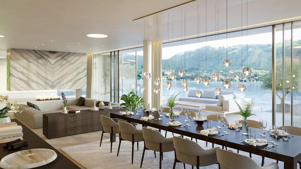 Rendering eines Luxuswohnhauses am Traunsee mit Bootshaus