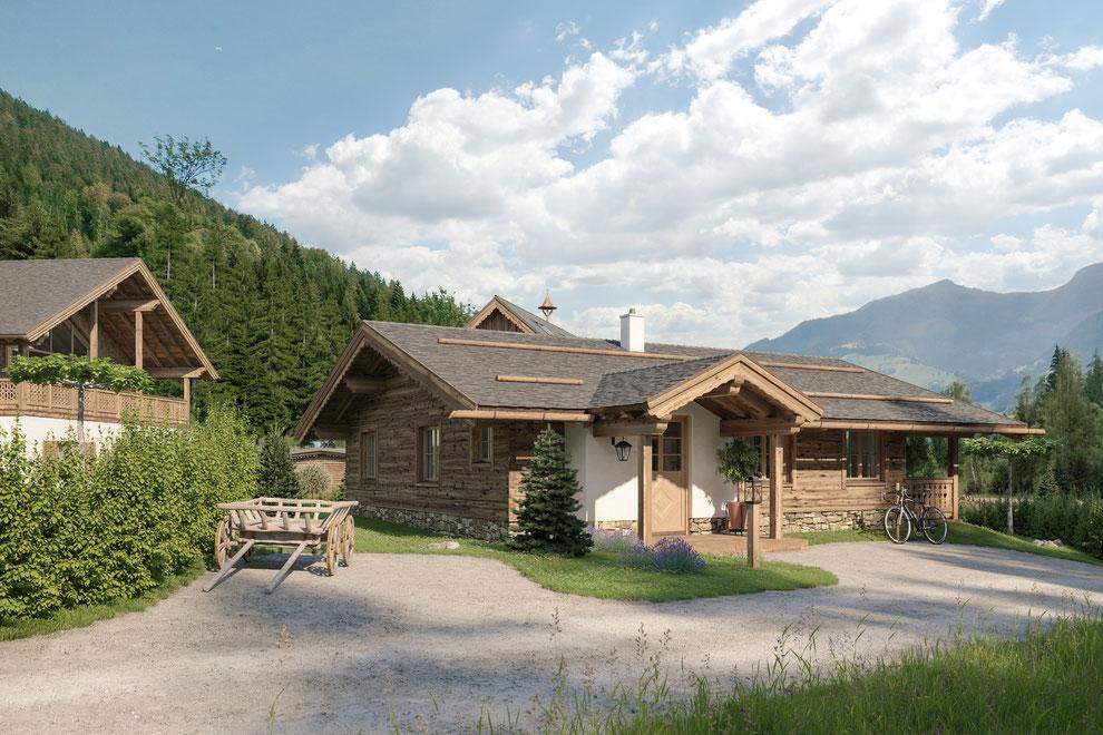 Archviz der alpinen Siedlung Weissenbach