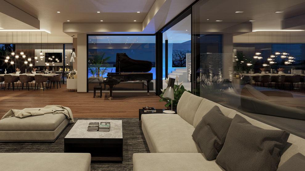 Rendering Penthouse Living - Schau vom Wohnzimmer in dein Pool
