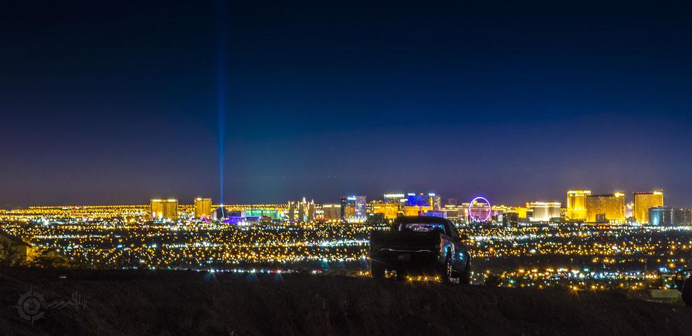 night skyline over las Vegas, lights of the city, pickup truck, nevada, las vegas, casino, strip, neon