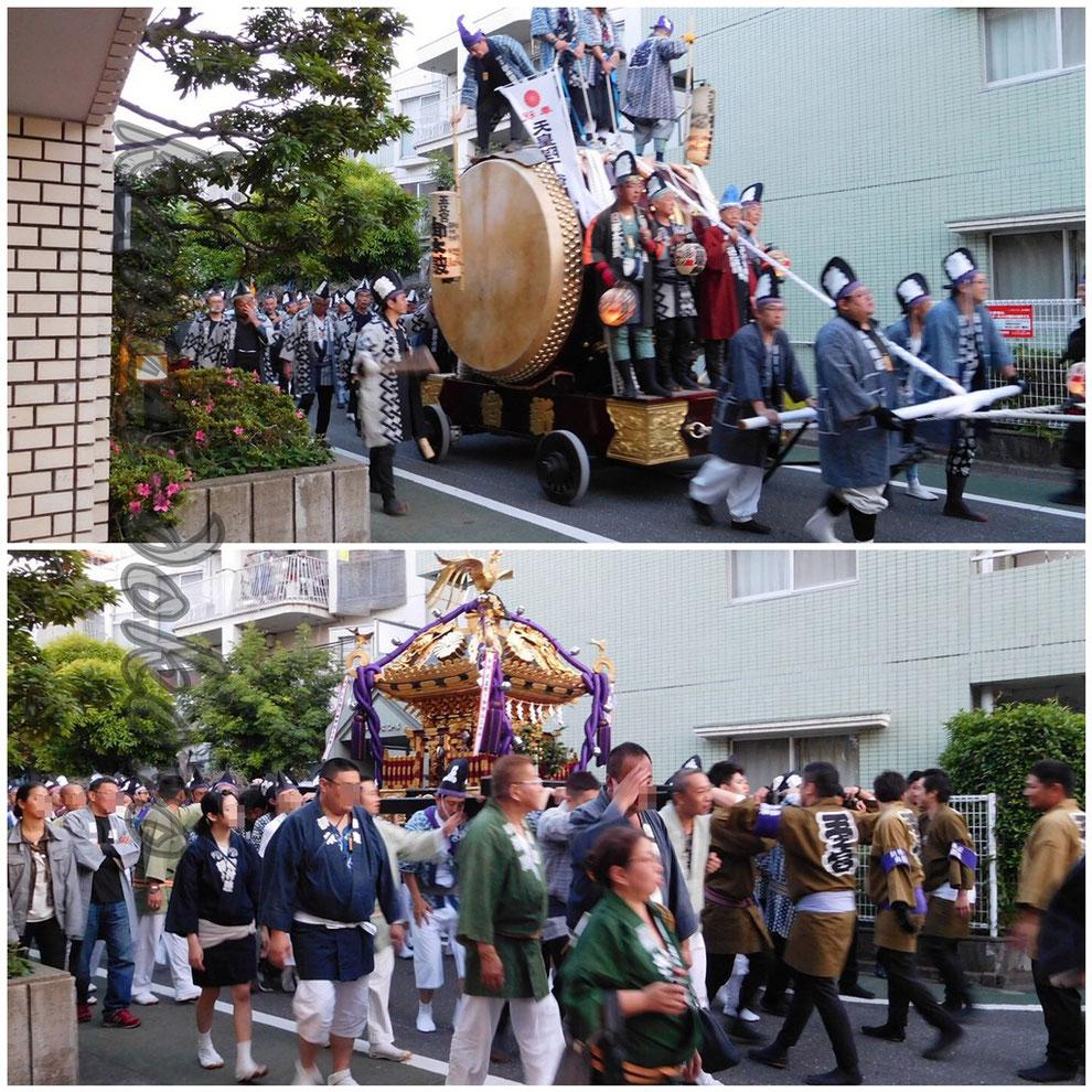 くらやみ祭り明け方の神輿渡御と大太鼓