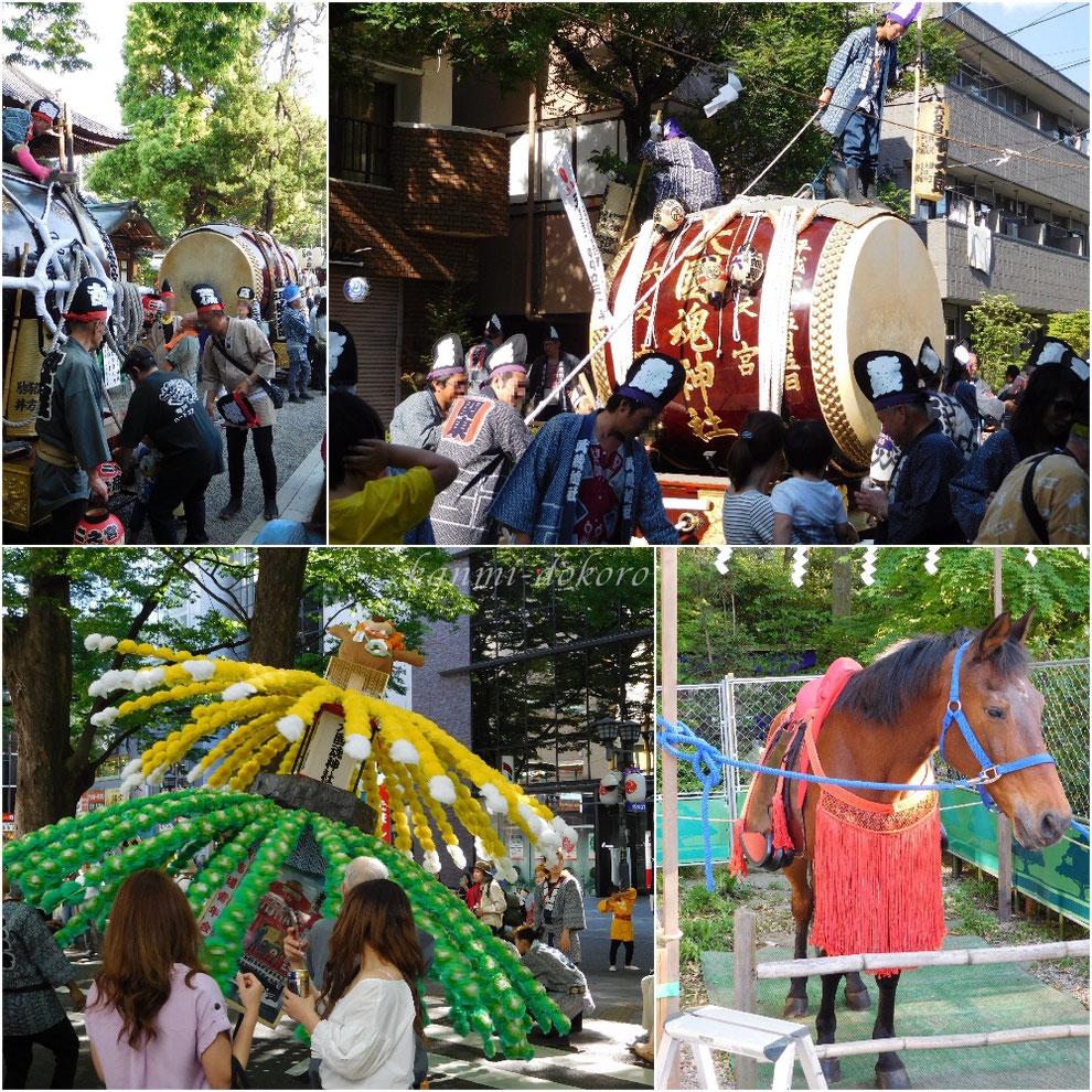 くらやみ祭り、大太鼓と万燈、競馬
