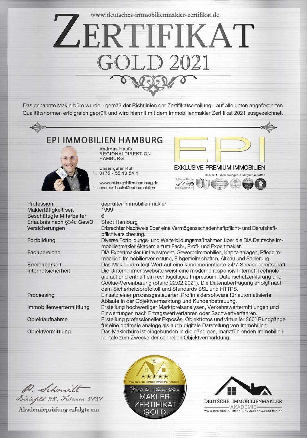 IMMOBILIENMAKLER HAMBURG OSTSEE KIEL MAKLER ZERTIFIKAT MAKLER ZERTIFIZIERUNG ANDREAS HAUFS MAKLERZERTIFIKAT IHK MAKLEREMPFEHLUNG HAMBURG