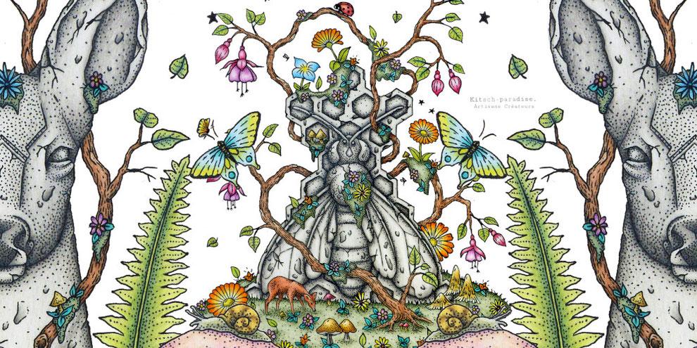 Kitsch, paradise, artisan, créateur, art, dessin encre de chine, nature, totem, abeille, chevreuil