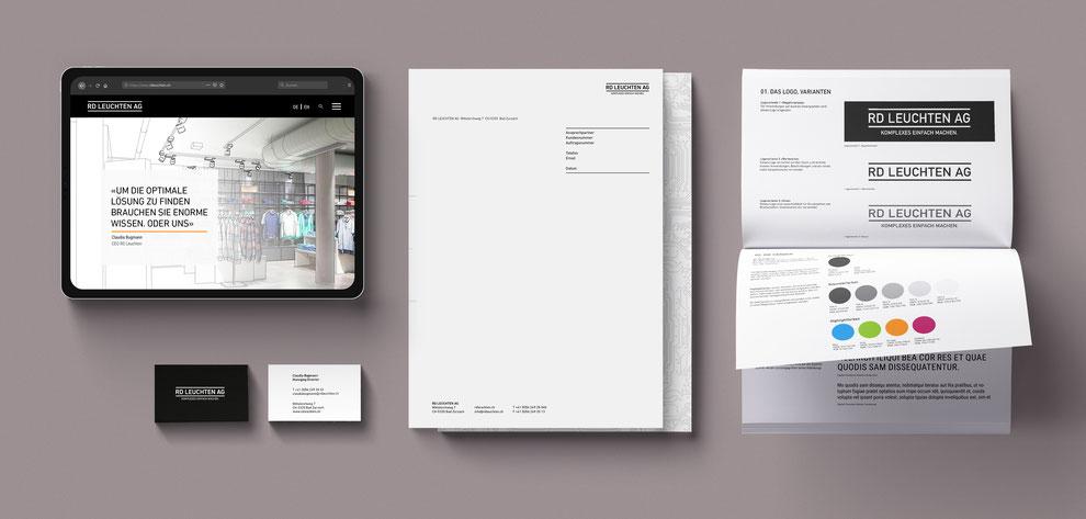 RD Leuchten Webdesign, Geschäftsausstattung, Corporate Design