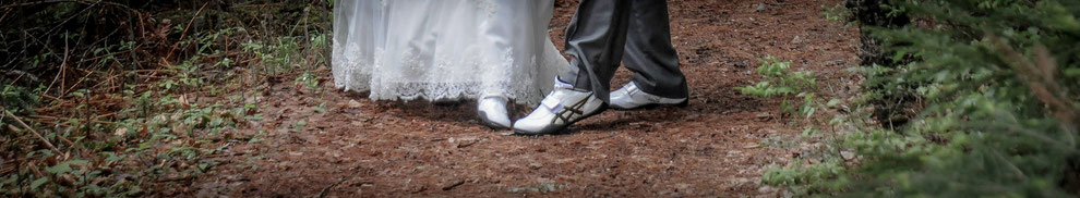Coach Jenn and Coach Jake love throwing so much that they were married in throwing shoes
