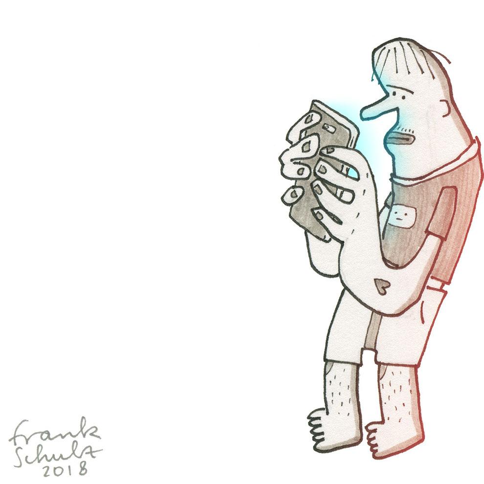 Illustration Chat und Handysucht, Zeichnung mit Tusche und digitaler Farbe von Frank Schulz Art, zeigt eine Figur als Digitalzombie die ihr Smartphone checkt