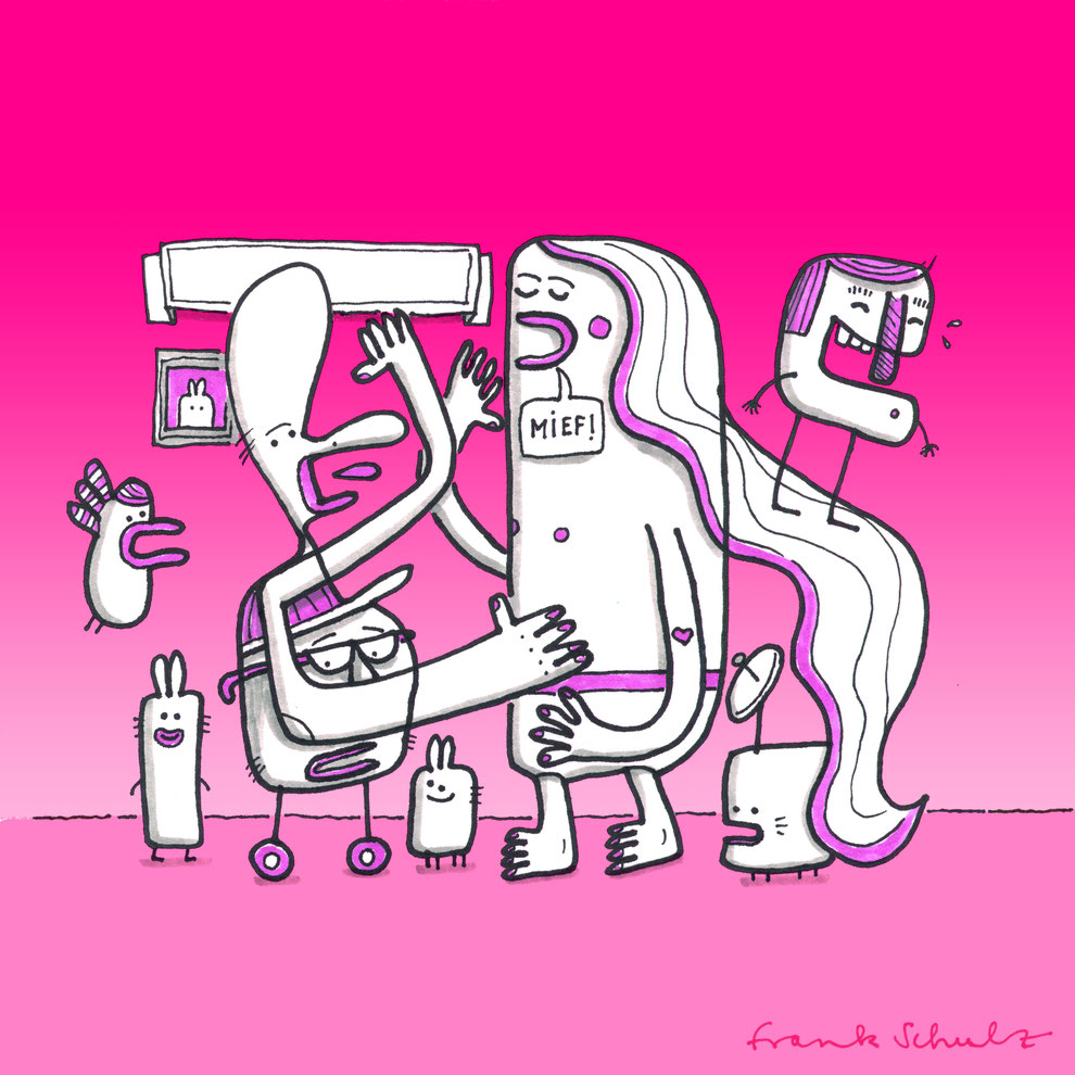 Illustration Diskussion beim Familienausflug, Zeichnung mit Tusche und digitaler Farbe von Frank Schulz Art, zeigt Fantasie Figuren vor pink