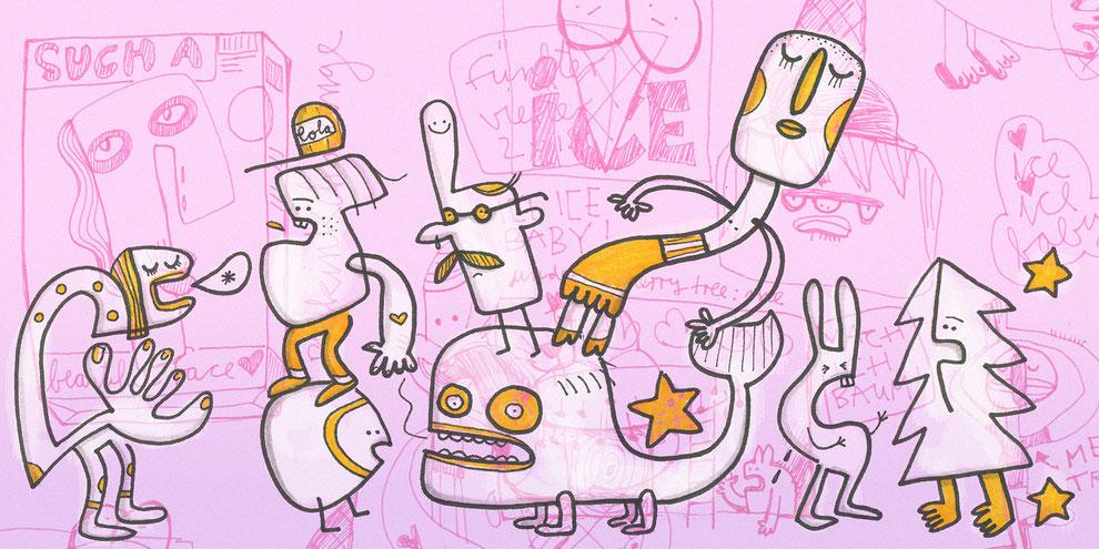 Illustration Konsumgesellschaft, Zeichnung mit Tusche und digitaler Farbe von Frank Schulz Art, zeigt Kreaturen vor rosafarbenem Hintergrund