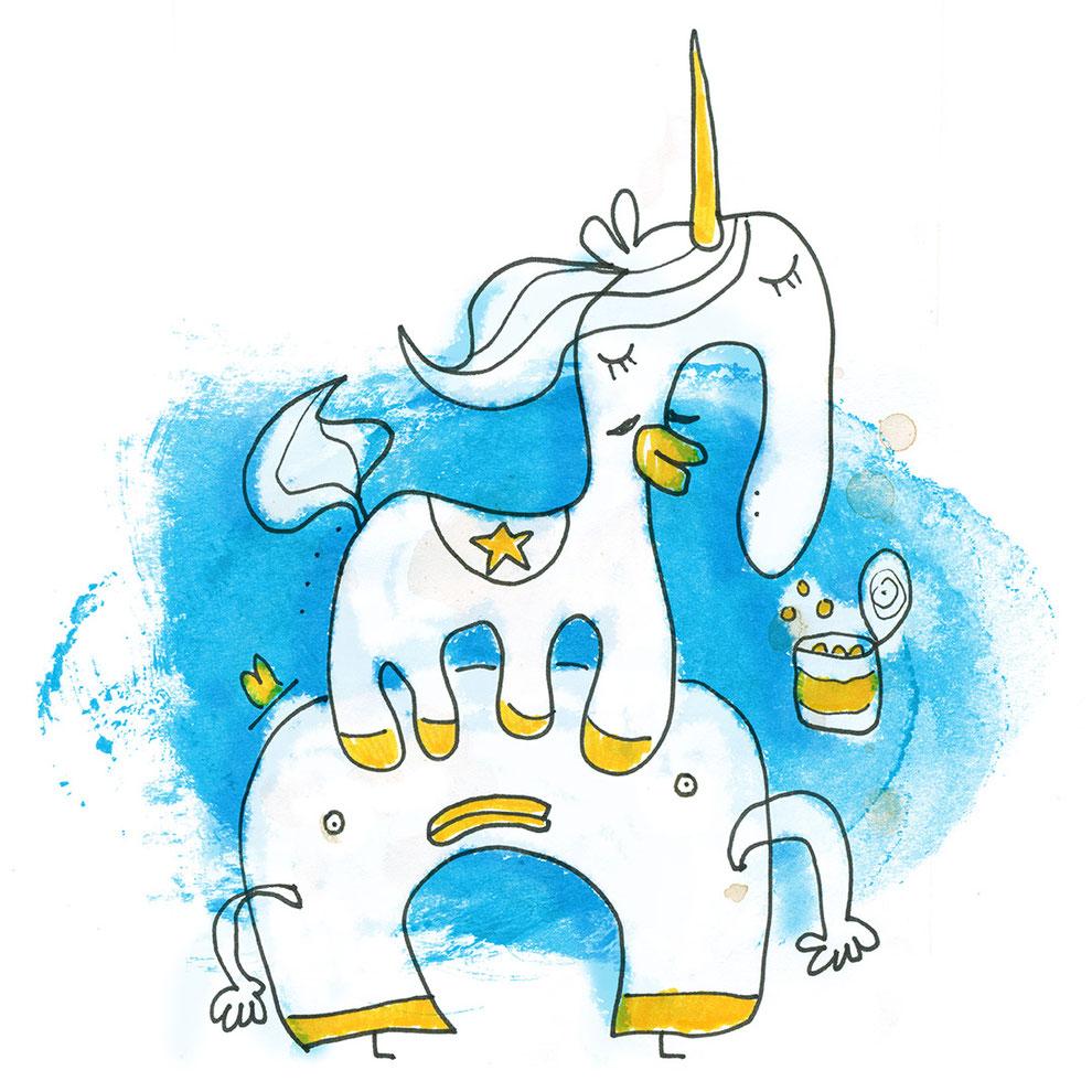 Illustration Einhorn und Cowboy im Zirkus vor blauem Hintergrund, Zeichnung mit Tusche und Aquarell von Frank Schulz Art