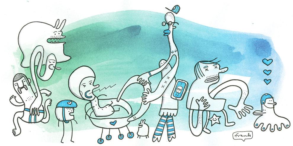 Illustration Familienszene aus dem Kiez im Prenzlauer Berg Berlin mit Baby, Kleinkind und Monster vor blau-grünem Hintergrund, Zeichnung mit Tusche und Aquarell von Frank Schulz Art