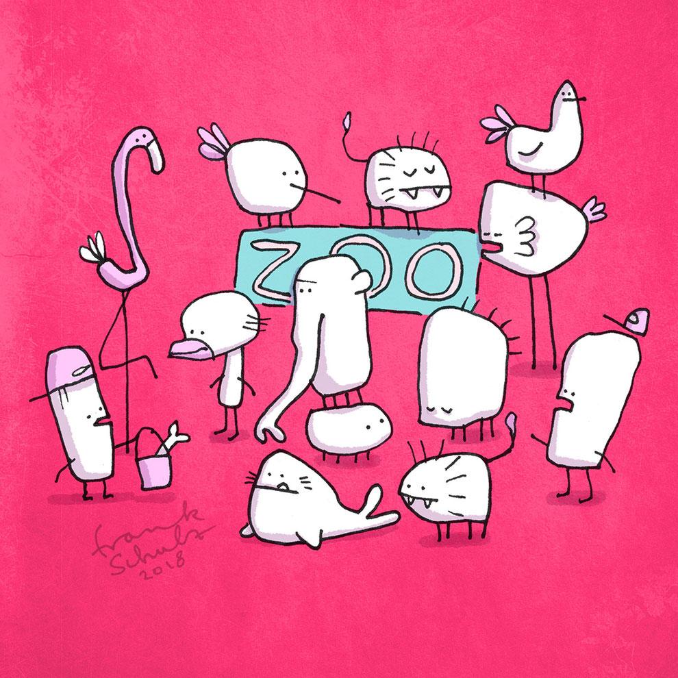 Illustration Kleiner Zoo für Kinder, Zeichnung mit Tusche und digitaler Farbe von Frank Schulz Art, zeigt eine Zoo mit Fantasie Tieren vor rotem Hintergund