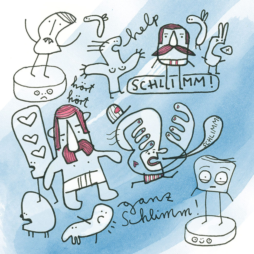 Illustration, kleiner Mann mit Mütze, schlimm, Manni, blau, rot, Frank Schulz Art