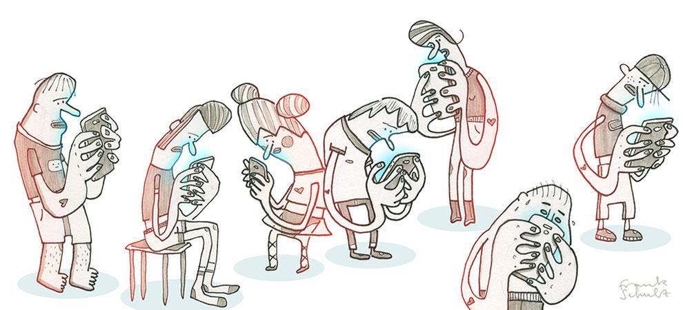 Blick in mein Skizzenbuch - Illustration Stress und Handysucht, Zeichnung mit Tusche und digitaler Farbe von Frank Schulz Art, zeigt eine Gruppe Figuren die ihr Smartphone checken