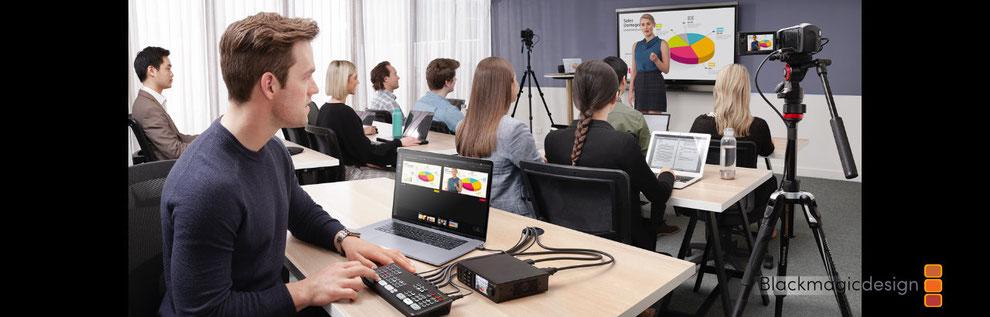 transmisión de clases, clases por web, blackmagic, ATEM Mini Pro,