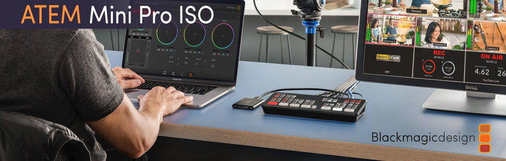 ATEM Mini Pro ISO, switch de video, mezclador de video, digidesign, blackmagic