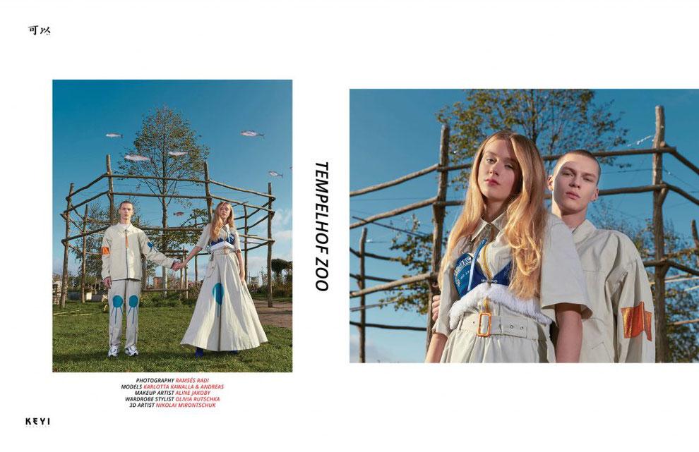 Olyvia Oyster Styling Fashion Stylist Streetwear Berlin Tempelhof Zoo Fashion Editorial for Keyi Magazine 3D design Animal Bear by Nikolai Mirontschuk